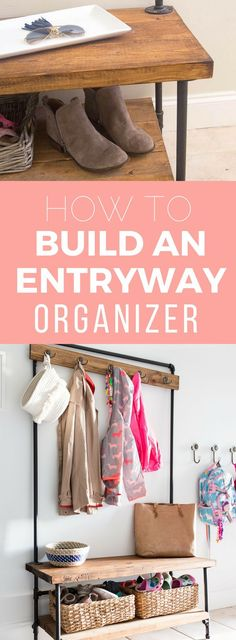 Create storage and organization for your entryway with this wood and pipe entryway organizer that you can build yourself. Tutorial featured in BHG magazine.