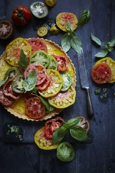 Ricotta & Balsamic Tart with Heirloom Tomatoes.