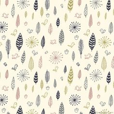 Birds and Feathers fabric design by Liz Adams, via Behance