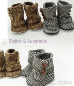 Baby boots. These would be so fun to make out of an old wool sweater!.