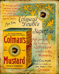 Colman`S Mustard Large Metal Retro Aluminium Tin Sign Vintage Ad Shabby Chic & Garden Vintage Packaging, Vintage Labels, Vintage Ephemera, Vintage Signs, Vintage Ads, Vintage Prints, Vintage Room, Vintage Kitchen, Luhan