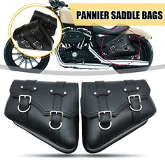 1 Pair Black Motorcycle Saddlebags Throw Under Seat Side Tools Bag Pouch for Harley Davidson Cruiser Motorbike-in Tank Bags from Automobiles & Motorcycles