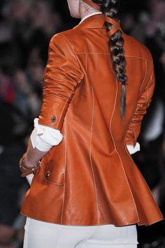 Hermes jacket in rich russet-brown