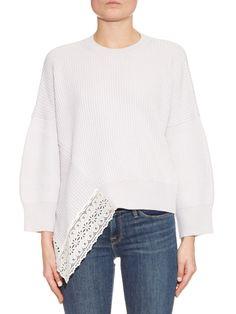 Lace insert wool and silk-blend sweater   Stella McCartney   MATCHESFASHION.COM
