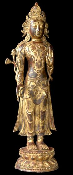 Ming Dynasty Kuan Yin, bronze statue. Rare and important Asian art for sale on CuratorsEye.com