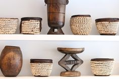 Nigerian Cowrie Shell Baskets and Hehe Stools
