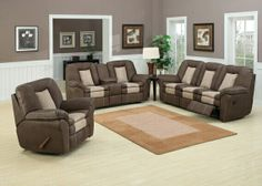 "2 pc Carson two tone Chocolate and Stone bonded leather upholstered Sofa and Love seat with recliners and center console. This set features the sofa with recliners on both ends and Love seat with recliners on both ends and a center console with cup holders. Sofa measures 91"" x 38"" x 40"" H. Love seat measures 80"" x 38"" x 40"" H. Some assembly required. SKU 	Carson SEC"