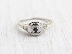 Antique Art Deco 18K White Gold Sapphire Ring by MaejeanVintage