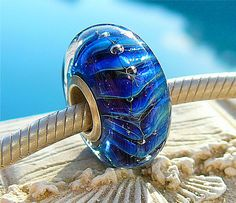 NAVY RIPCURL OPAL Fully Lined Sterling Silver Big Hole Bead fits Troll Beads Chamilia and European Charm Handmade Lampwork