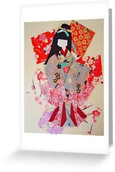 'Beautiful Japanese paper doll made with origami paper.' Greeting Card by JoAnnValencia Framed Prints, Canvas Prints, Art Prints, Japanese Paper, Traditional Japanese, Origami Paper, Washi, Paper Dolls, Art Boards
