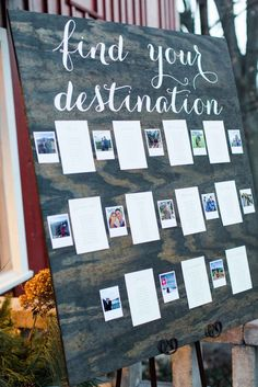 Rustic, find your destination board to find table numbers The Wedding Story of Chas and Cari Carter | WeddingDay Magazine