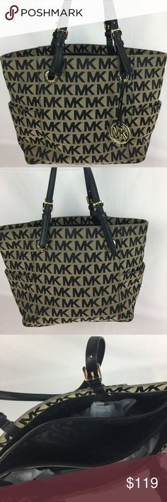 Michael Kors Jet Set Monogram Signature Tote Michael Kors Jet Set Monogram Signature Logo Tote in Beige and Black  Good condition with some wear on edges of handles - see photos for detail. Michael Kors Bags Totes