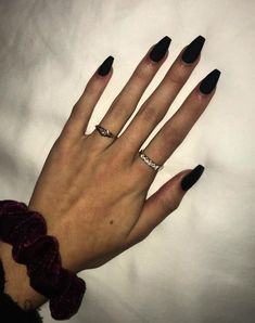 Matte black coffin shaped nails caitlins p Black Acrylic Nails, Black Coffin Nails, Matte Black Nails, Coffin Shape Nails, Black Acrylics, Long Black Nails, Blue Nail, White Nails, Oval Nails