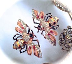 Vintage Coro Craft STERLING FUR CLIPS Coro Craft Sterling Silver Enamel Rhinestones Bumble Bee Bug Fur Clips Duette Pins