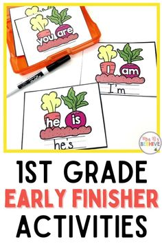 Give your students early finisher activities that are engaging and educational. These task cards are meant to be done independently to help free up your teacher time for those students who need assistance!Help students increase contraction skills with these first grade task cards. First Grade, Grade 1, Early Finishers Activities, Fast Finishers, Kindergarten Classroom, Your Teacher, Word Problems, Beehive, Guided Reading