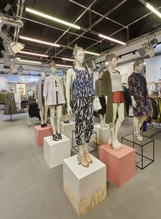 Topshop SS15, C colour created a variety of props including suspended pink tinted PVC strips, an array of raw timber frames and various painted mannequin bases. All elements were created in-house. Photographed at Topshop's London flagship in Westfield Stratford. Photography - Melvin Vincent.