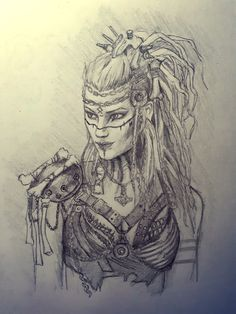 Saw her, had to draw her Realistic Drawings, Art Drawings Sketches, Cool Drawings, Viking Character, Character Art, Native American Warrior Tattoos, Guerrero Tattoo, Viking Drawings, Viking Warrior Woman