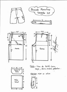 Men's shorts, EU size NA size 36 measurements are in cm on pattern. Mens Sewing Patterns, Clothing Patterns, Dress Patterns, Sewing Shorts, Sewing Clothes, Men's Shorts, Pattern Drafting, Pants Pattern, Fashion Sewing