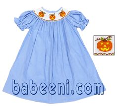 This smocked dress is very impressive in blue plain with three light pumpkins hand embroidered beautifully and delicately on a large white smock around the neck. It is made of soft blend cotton (100% cotton or 65% cotton).  More details at : http://babeeni.com/Halloween-bishop-smocked-dresses-and-smocked-romper.html