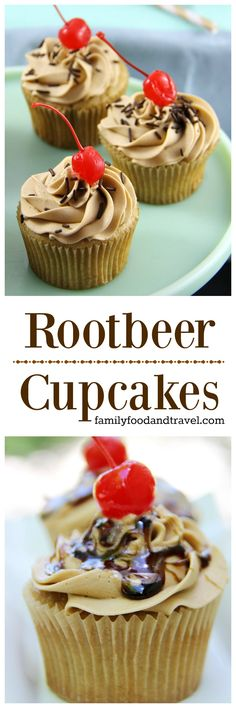 Rootbeer Cupcakes - Oh yum!  With Root Beer icing and Root Beer drizzle!  Bring. it. on. Family Food And Travel