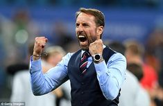 The normally reserved England manager, Gareth Southgate, shows his passion as Harry Kane scores the winner against Tunisia Fifa, England Football Players, Football Team, First World Cup, England National Team, Word Cup, Football Mondial, England Fans, Gareth Southgate