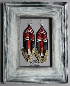 These native american style earrings are made of high-quality Czech beads and strong synthetic thread. They are elegant, fashionable, and highly versatile, suitable for everyday wear. Features: Sterling silver components Color: red, white, black. Length (approximate): 11 cm (4.33 in) This