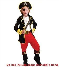 Online Cheap 2015 Kids One Eyed Jacks Pirate Captain Costumes Boys Party Cosplay Clothing Suit Halloween Outfit J082508# By Dwtrade | Dhgate.Com