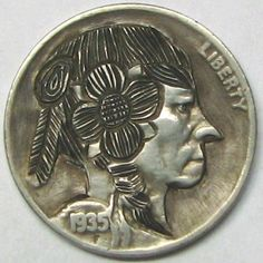 RUTH BORM HOBO NICKEL - HARRIETA THE HIPPIE WOMAN - 1935 BUFFALO PROFILE Hobo Nickel, Buffalo, Coins, Carving, Profile, Woman, Art, User Profile, Art Background