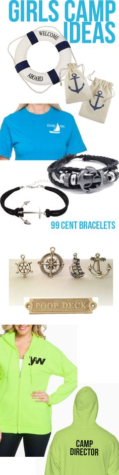 2015 girls camp ideas - Life Preservers; Girls Camp T Shirts; 99 cent bracelets; charms; Gisl Camp Director Hoodie....  Everything I need linked in one place. LOVE IT! #lds  #girlscamp