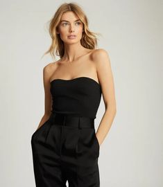 Bobbi Black Cropped Bustier Top – REISS New Outfits, Trendy Outfits, Fashion Outfits, Minimal Wardrobe, Olivia Palermo Style, Bustier Top, Reiss, Black Tops, Women Wear