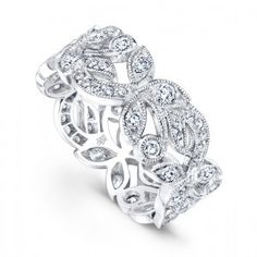 Gorgeous 18K white gold and diamond floral band designed by Beverley K.
