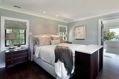 I love this color for the master bedroom -- Wall color is Beach Glass Benjamin Moore. 2015 favorite trends in paint color. Neutral Paint Colors, Bedroom Paint Colors, Paint Colors For Home, Wall Colors, Gray Color, Style At Home, Benjamin Moore Beach Glass, Benjamin Moore Silver Chain, Pantone Azul