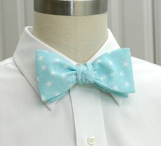 Mens Bow Tie in pale blue with white stars by CCADesign on Etsy