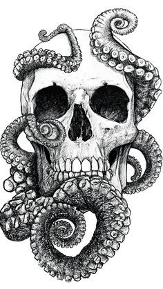 San Francisco by Mr Yarks #skull #octopus #drawing #art #illustration #sf #sanfrancisco