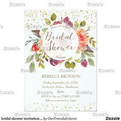 bridal shower invitation floral faux gold confetti
