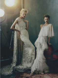 Caroline Trentini and Kasia Struss in 'Storm Troupers' Photographer: Annie Leibovitz Dresses: Marchesa S/S 2013 Vogue US February 2013
