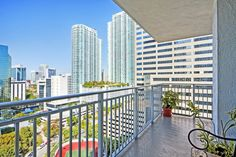 Views from a private balcony at Yacht Club at Brickell Apartments, Miami, FL