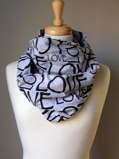 Black LOVE Alphabet letters Heather Gray Cotton Blend Swoopwear Infinity Scarf #Swoopwear #CowlInfinity