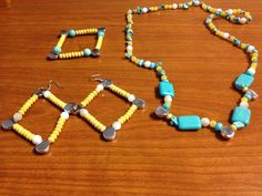 Turquoise and yellow necklace set