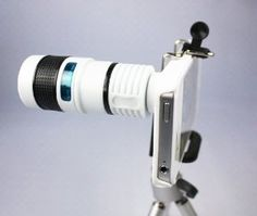 Amazon.com: FOM Telescope 8X Zoom Telephoto Long Focal Camera Lens Tripod for iPhone 4 4S - White: Cell Phones & Accessories