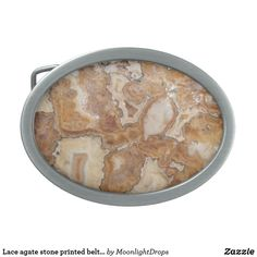 Lace agate stone printed belt buckle.
