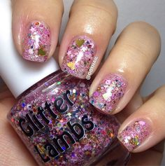 Glitter Lambs: Pink Gingerbread House Glitter Topper Nail Polish For Christmas By Glitter Lambs