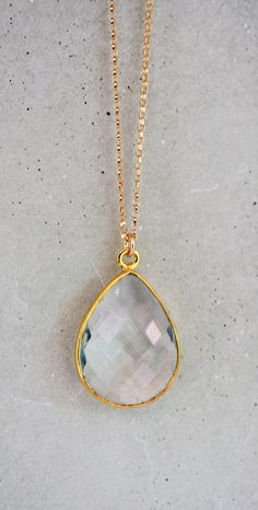 Crystal Briolette Drop 14k Gold Filled Necklace by shopkei on Etsy, $46.00