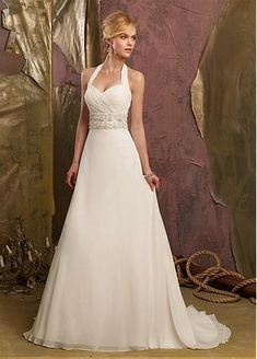 Stunning Chiffon & Satin A-line Halter Neck Raised Waistline Wedding Dress