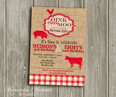 PRINTABLE INVITATIONS Vintage Petting Zoo or by MemorableMomentsSt, $13.00