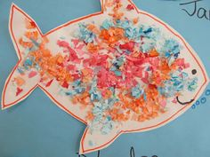 Fish Art Project for Toddlers, sensory art for toddlers, ocean project for preschool
