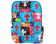 SALE! Rag Quilted Patchwork Stone Wash Cross Backpack #CPP9001-TURQ