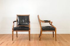 SALE Pair of Black Leather Captain's Arm Chairs with Brass Nailhead Trim on Etsy, $795.00