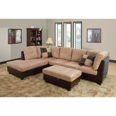 Sectional with Storage Ottoman Orientation: Left Hand Facing, Upholstery: Sand - http://sectionalsofaspot.com/sectional-with-storage-ottoman-orientation-left-hand-facing-upholstery-sand-696277279/