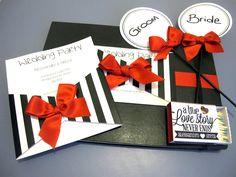 Black White and Red Wedding Invitation